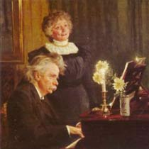 Edvard Grieg and Nina Hagerup, his wife, making music in the evening