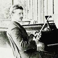 A young Sibelius with his violin, wishing he could play it better