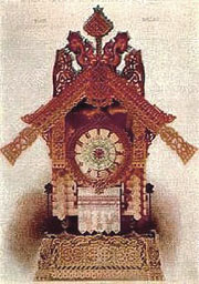 Hartmann's design for a clock based on the Baba Yaga legend
