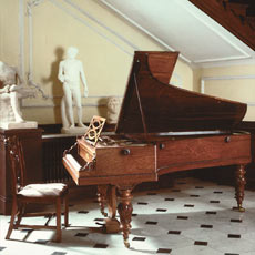 Chopin music is nearly all for the piano. Pictured is Chopin's own piano.