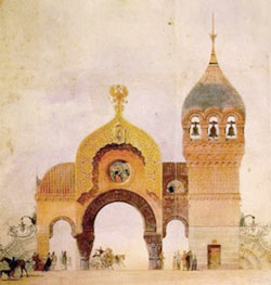 Modest Mussorgsky was inspired by this design of a grand entrance gate to Kiev