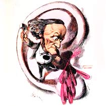 A caricature of Richard Wagner hammering someone's ear in with his loud music