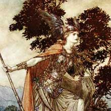 A drawing of Brunnhilde, from Wagners Ring Cycle by Arthur Rackham